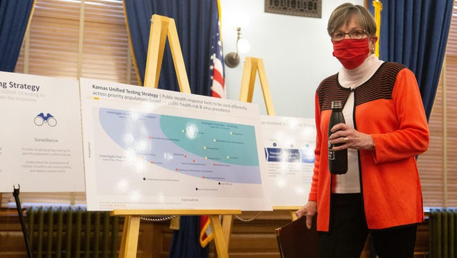 Gov. Laura Kelly walks past posters displayed her Kansas Unified Testing Strategy following her press conference Wednesday at the Statehouse.