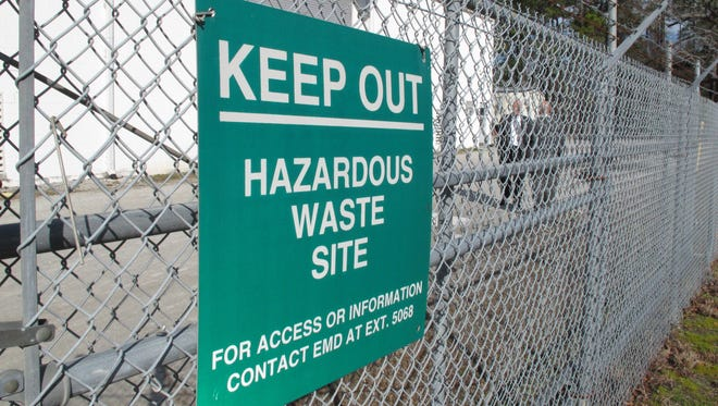A sign cautions visitors last year at Camp Lejeune, N.C., the site of one of the worst drinking water contamination cases in U.S. history.