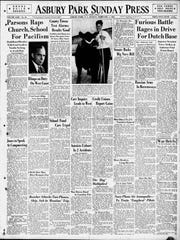 The front page of the Asbury Park Press on Sunday, Feb. 1, 1942, prominently featured a speech by Theodore D. Parsons lamenting that the Shore was not answering the call of Uncle Sam almost two months after the attack on Pearl Harbor.