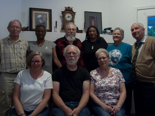 The Baha'i of Las Cruces 2018-2019 governing council from left to right (seated): Jean Wilkey, Dean Wilkey, treasurer, and Muriel Gribble. Standing, from left to right: Carl Ewing, chairman, Phyllis Williams, Darrell Rodgers, vice chairman, Deborah Rodgers, Annie Mitchell, secretary, and Gordon Butler.