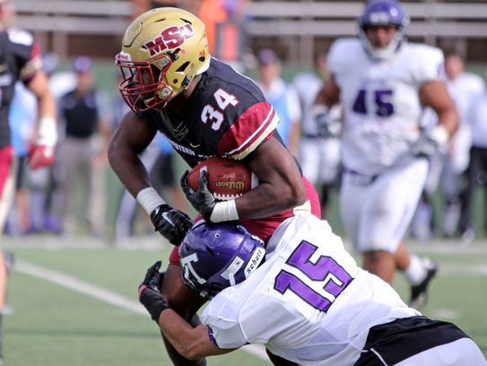 Midwestern State's Vincent Jackson is tackled by Tarleton
