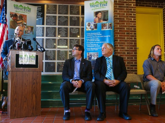 Wes Davis, Director of Development at West End Neighborhood House, speaks at a press event where West End Neighborhood and New Castle County kicks off a new initiative which will build upon existing career path programs and broaden their reach.