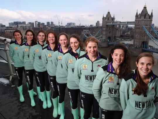 Olivia Coffey, back, with Cambridge University teammates,