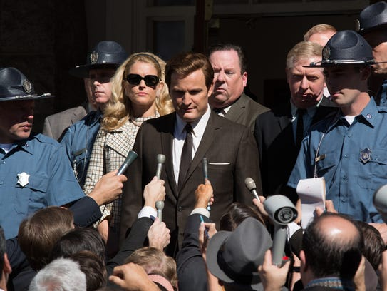"""Ted Kennedy (Jason Clarke) faces the press in """"Chappaquiddick"""""""