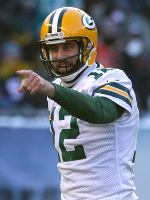 Green Bay Packers quarterback Aaron Rodgers reacts after a touchdown during the 2016 regular season.