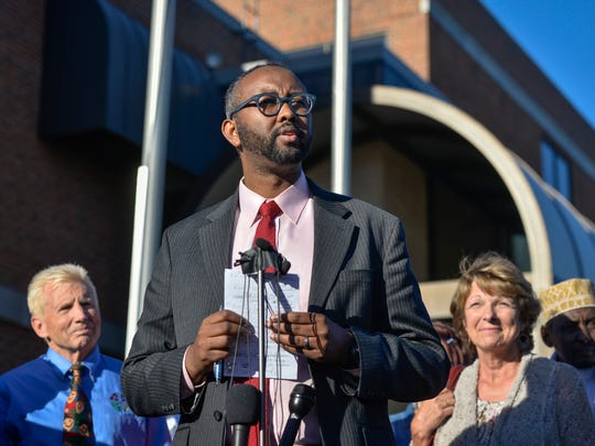 Jaylani Hussein, executive director of the Council on American-Islamic Relations in Minnesota, speaks in a press conference in September 2016 outside St. Cloud City Hall. The conference was called to address the current mood in the community and to call for peace and unity.