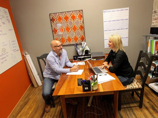 Paul Ritter and Lisa Brouwer have their own businesses but also work together at Elev8 Coaching, which has an office in The Creative Co-op.