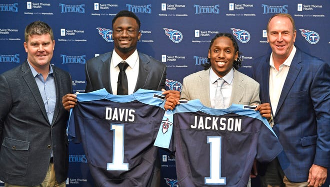 Titans introduce first-round draft picks, Western Michigan wide receiver Corey Davis and Southern Cal cornerback Adoree' Jackson, in the auditorium at Saint Thomas Sports Park. With Titans general manager Jon Robinson, left, and coach Mike Mularkey on Friday April 28, 2017.