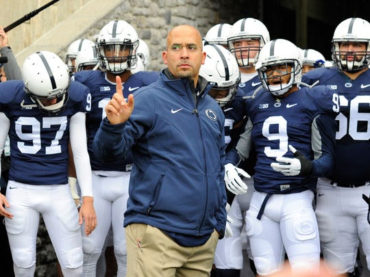James Franklin and Penn State players.
