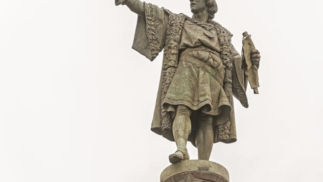 Submitted, Getty Images/iStockphoto This statue of Christopher Columbus is located in Barcelona. This statue of Christopher Columbus is located in Barcelona.