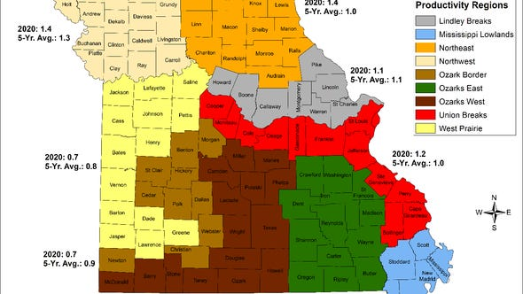 This map shows an index (poult-to-hen ratio) of Missouri's wild turkey production by turkey productivity region. Data were obtained during MDC's wild turkey brood survey and are compared to the previous five-year averages.