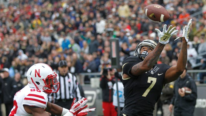 DeAngelo Yancey with a touchdown reception at 2:34 in the third quarter against Nebraska Saturday, October 31, 2015, at Ross-Ade Stadium. Purdue beat Nebraska 55-45.