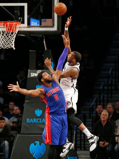 Detroit Pistons center Andre Drummond (0) defends Brooklyn