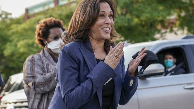 Democratic vice presidential candidate Sen. Kamala Harris, of California, greets supporters after a roundtable event on Monday in Milwaukee.