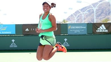 Claire Liu of Thousand Oaks celebrates after winning the ITF 18s girls' singles titles at the Easter Bowl USTA Junior Spring Nationals at the Indian Wells Tennis Garden.