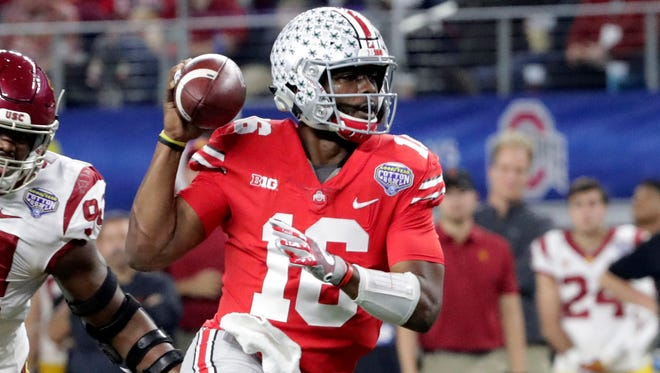 Ohio State quarterback and Rider grad J.T. Barrett (16) signed as a free agent with the Indianapolis Colts.