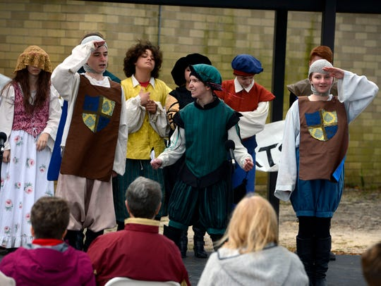 Members of the Southeastern Teen Shakespeare Company perform Sunday during a past Gulf Breeze Celebrates the Arts fine arts festival at Gulf Breeze High School.