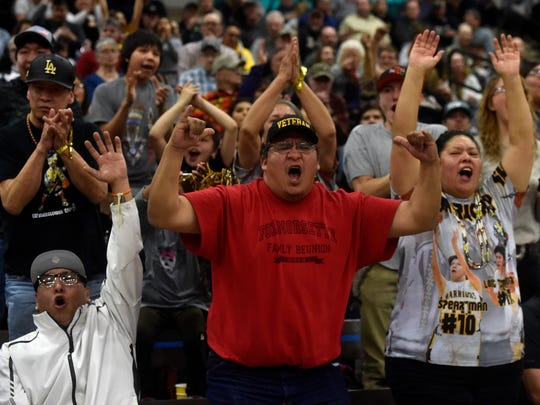 Heart Butte fans cheer during last year's Northern C tournament at Pacific Steel and Recycling Four Seasons Arena.