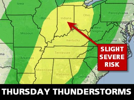 Thursday storm risk.