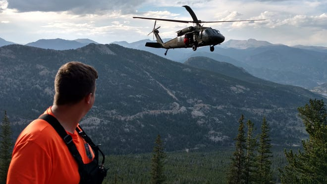 An injured climber was rescued in a Blakhawk helicopter Sunday near Estes Park.