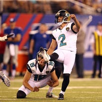 Marist grad Jason Myers kicks a field goal as a member of the Jacksonville Jaguars.