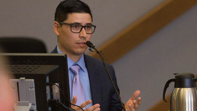 Tai Chan, the former Santa Fe County Sheriffs deputy, took the stand, explaining the events that lead up to the shooting of fellow deputy Jeremy Martin, who Chan is on retrial for shooting, May 19, 2017, at the Third Judicial District Court in Las Cruces.