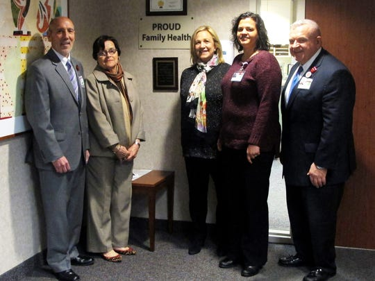 Assemblywoman Valerie Vainieri Huttle, chairwoman of the Assembly's Human Services Committee, and Assemblywoman Patricia Egan Jones, a member of the Human Services Committee, recently visited Robert Wood Johnson University Hospital Somerset's PROUD Family Health to learn more about health care needs of the LGBTQIA community. From left: Tony Cava, chief administrative officer, Robert Wood Johnson University Hospital Somerset; Jones; Huttle; Lalitha Hansch, MD, program director, RWJ Somerset Family Practice; and Salvatore Moffa, MD, chief medical officer, Robert Wood Johnson University Hospital Somerset.