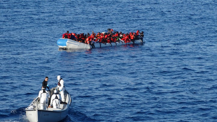 The Italian navy said its sailors rescued 117 people