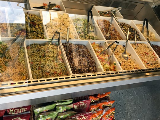 An extensive array of pasta and vegetable salads are