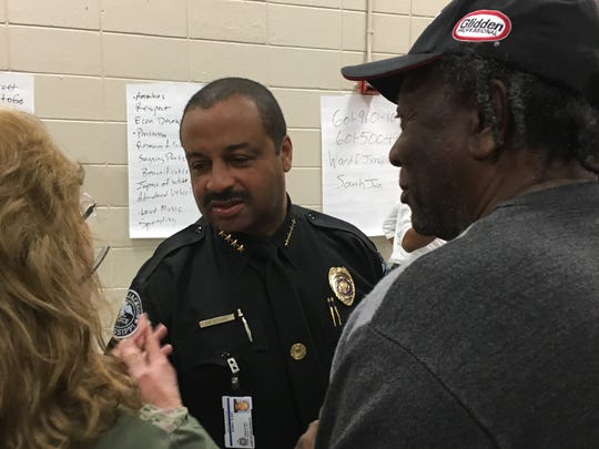 Jackson Police Chief Lee Vance takes input from south