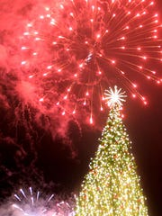 Fireworks began as soon as the Christmas tree was lit