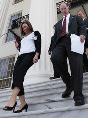 Gov. Robert Bentley and former political advisor Rebekah Caldwell Mason.Dave Martin/AP