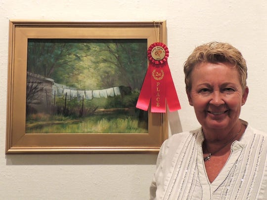 "Candy Mayer's ""Clothesline"" won second place."