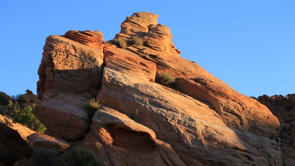 A variety of interesting formations can be found along the Arch Trail in the Red Cliffs Desert Reserve.