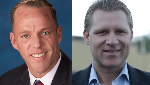 42nd Assembly District candidates Greg Rodriguez, a Democrat, left, and Republican Chad Mayes.