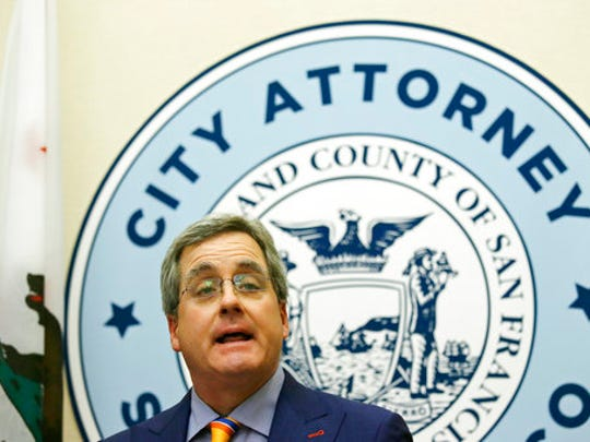 "City Attorney Dennis Herrera talks about a federal judge's order blocking any attempt by the Trump administration to withhold money from ""sanctuary cities ""during a news conference at City Hall Tuesday, April 25, 2017, in San Francisco."