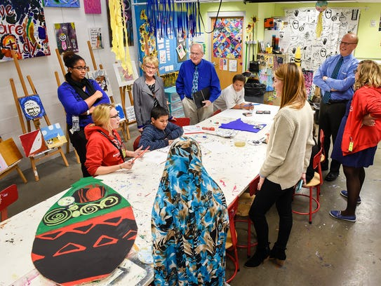 Students show and explain their projects Wednesday,