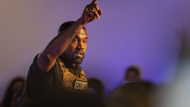 In this Sunday, July 19, 2020, file photo, Kanye West makes his first presidential campaign appearance, in North Charleston, S.C.
