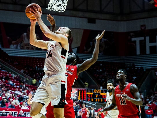 Ball State's Kyle Mallers shoots past Stony Brook's