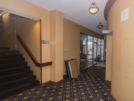 A hallway in the main lobby area at the former Quality