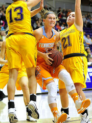 Alexa Middleton, a Murfreesboro native, drives to the hoop.