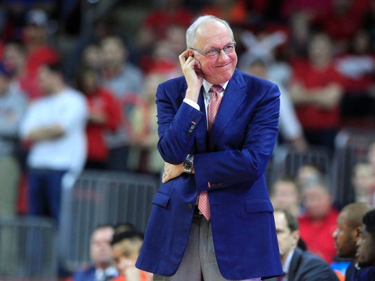 Syracuse head coach Jim Boeheim watches during the