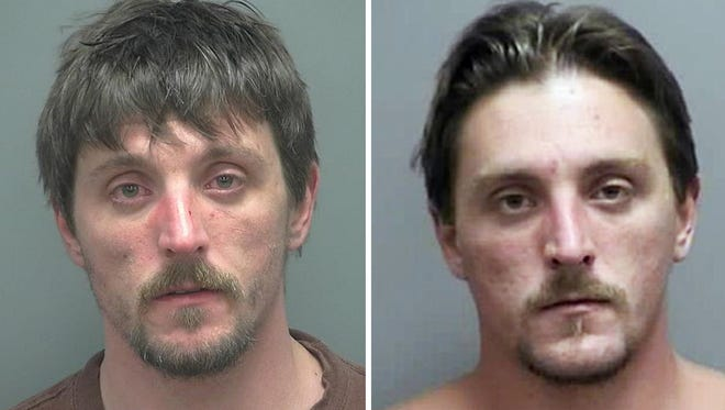 Joseph Jakubowski's booking photo (left) and mugshot while he was still the subject of the law enforcement manhunt.