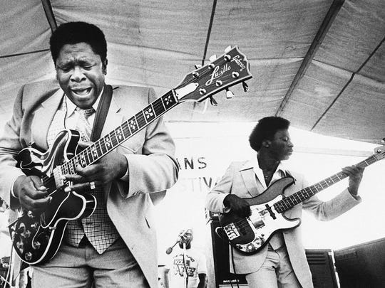 FILE - In this April 21, 1980 file photo, B.B. King, left, and an accompanist perform during the opening of the 1980 New Orleans Jazz and Heritage Festival. King died Thursday, May 14, 2015, in his sleep at his Las Vegas home at the age of 89, his lawyer said. (AP Photo, File)
