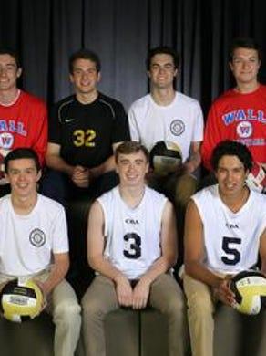 The 2016 Asbury Park Press All-Shore Boys Volleyball Team of: (back row) Brady Donahue, Brian Ross, Liam Maxwell and Nick Palluzzi; (front row) Brennan Davis, Matt Kelly and John Arege.