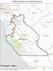 This map outlines the 30th Assembly district.