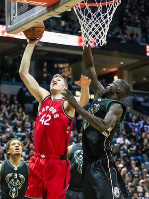 Bucks center Thon Maker defends Raptors center Jakob Poeltl in the second half of Milwaukee's 104-77 victory over Toronto on Thursday night at the BMO Harris Bradley Center.