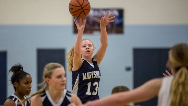 Marysville's Kiara Kelley takes a shot during a basketball game Tuesday, Dec. 13, 2016 at Yale High School.
