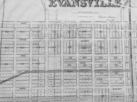 Map of Evansville, Ind. showing the path of the canal.