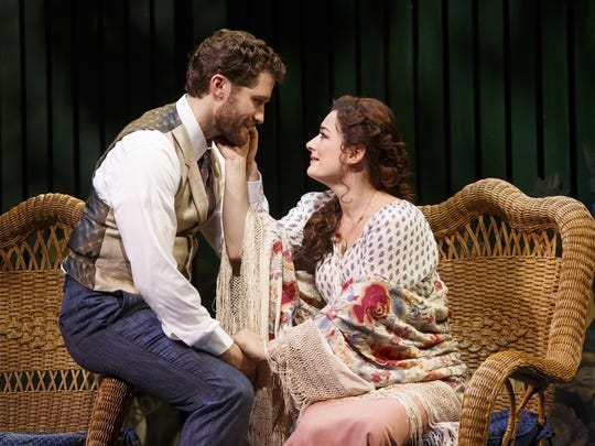 """Matthew Morrison and Laura Michelle Kelly in a scene from the Broadway musical """"Finding Neverland."""""""